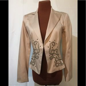NWT Cache Tan Embellished Jacket Sz 2 Retail $188
